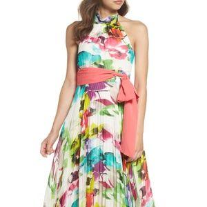 Print Chiffon Halter Maxi Dress- Eliza J Sz 4